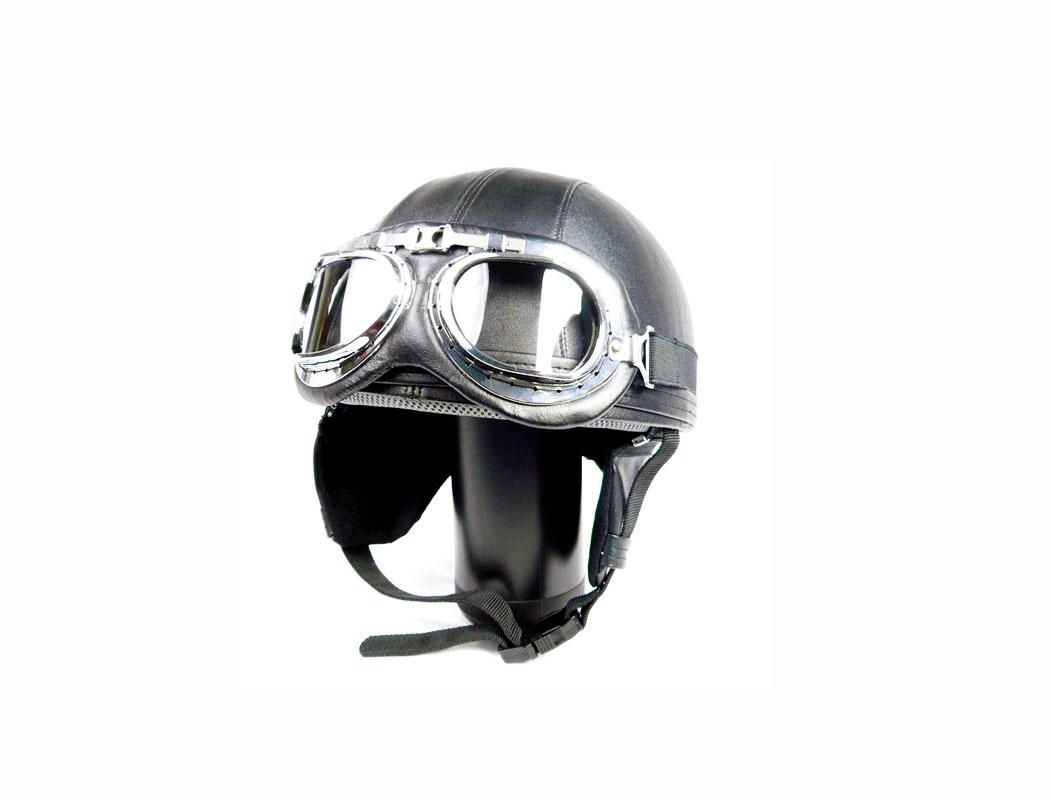 Mũ bảo hiểm nửa đầu có kính phi công Vintage